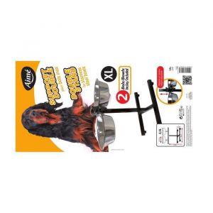 Aimé Kit Gamelle - Support réglable hauteur + 2 bols inox 28 cm, 3,5 L - Pour chien