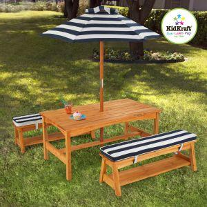 KidKraft 00106 - Ensemble table et banc de jardin avec coussins et parasol
