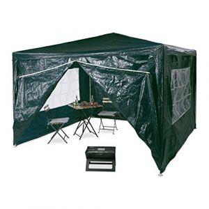 Relaxdays 10020812 Tonnelle pergola 3x3 m, 4 côtés cadre métal PE tente de jardin fermée pavillon chapiteau, vert