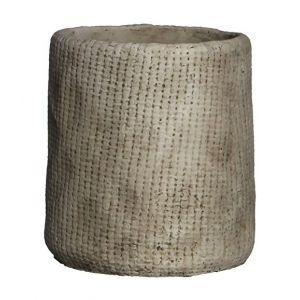 MICA Lot de 2 Cache-pots ronds Kyan - Beige - Hauteur: 17cm - Diamètre: 16cm