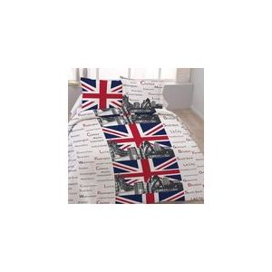 Dourev London Tower - Housse de couette et 2 taies 100% coton (220 x 240 cm)