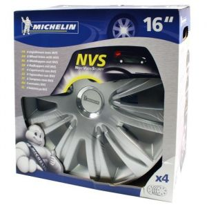 Michelin 4 enjoliveurs gris/chrome NVS 42 16 pouces