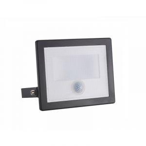 Projecteur LED Phare NOIR Détecteur de Mouvement Crépusculaire Extra Plat 20W IP65 - couleur eclairage : Blanc Froid 6000K - 8000K