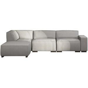 Comforium Canapé d'angle moderne avec méridienne gauche en tissu gris clair
