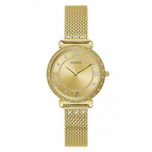 Guess Montre W1289L2 - JEWEL Boîtier acier doré brillant avec cristaux cadran doré avec cristaux bracelet maille milanaise acier doré avec cristaux Femme