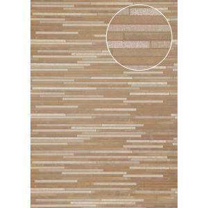 Atlas Papier peint aspect pierre carrelage ICO-6705-1 papier peint intissé lisse à l'aspect de pierre satiné brun beige-gris blanc bronze 7,035 m2