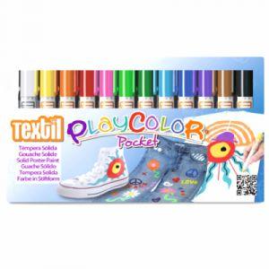 Bic Boite de 12 sticks de gouache textile, 12 couleurs assorties