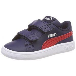 timeless design 6b11a 5af6a Puma Smash V2 L V Inf, Sneakers Basses Mixte Enfant, Bleu (Peacoat-Ribbon