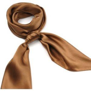 Allée du foulard Carré de soie Premium Uni Marron
