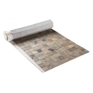 U TILE Mosaique en pierre naturelle 100 x 50 cm carreau 5 x 5 cm mixte beige
