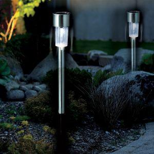 Galix 10 Lanternes solaire jardin inox blanche