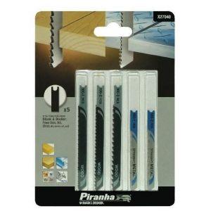 Piranha BLACK&DECKER Lot de 5 lames en métal X27040-XJ - Pour scie sauteuse