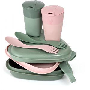 Light my fire Pack´n Eat Kit BIO pour 2 personnes, sandygreen/dustypink Set de vaisselle