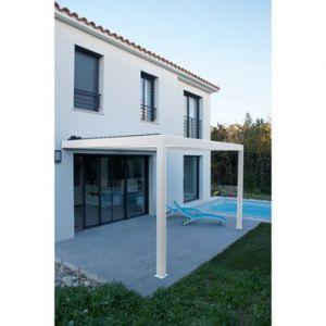 Pergola adossée Orient aluminium blanc 9 m²