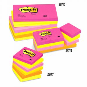 Post-It Lot de 6 blocs repositionnables coloris Tutti Frutti 76x76mm 654TF