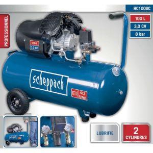 Scheppach Compresseur à 2 cylindres 100L 8 bar 3CV 2200W - HC100DC
