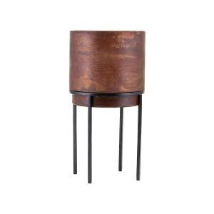House Doctor Pot de fleurs Nian Large / Avec pieds - Ø 20 x H 40 cm noir,rouille patinée en métal