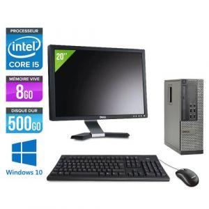 Dell Optiplex 7010 SFF + Ecran 20'' - Intel Core i5-3470 / 3.20 GHz - RAM 8 Go - HDD 500 Go - DVDRW - GigaBit Ethernet - Windows 10 Professionnel