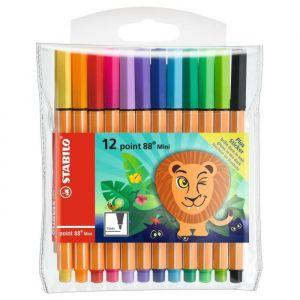 Stabilo Point 88 Mini FUNNIMALS - Pochette de 12 stylos-feutres + 1 sticker phosphorescent inclus