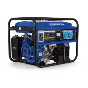 Eberth 5500 Watt Groupe électrogène (13 CV Moteur à essence 4-temps, 2x 230V, 1x 12V, E-Start, Régulateur de tension automatique AVR, Alarme manque dhuile, Voltmètre)