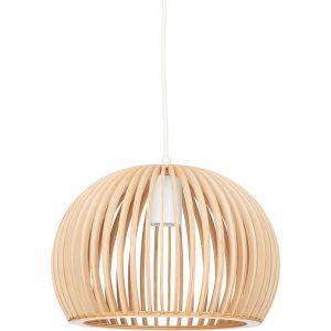 Relaxdays Luminaire suspension lampe plafond abat-jour en forme de boule cage bois HxlxP: 129 x 30 x 30 cm, nature-blanc