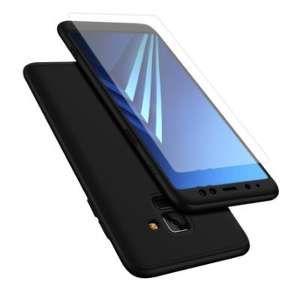 Samsung Coque de Protection Noir Avant et Arrière avec Verre pour Galaxy A8 2018