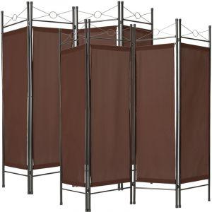 TecTake Paravent, Séparation de pièces, Cloison amovible 4 Panneaux Pans Pliables Toile Polyester 180 cm x 160 cm x 2,5 cm Marron X2
