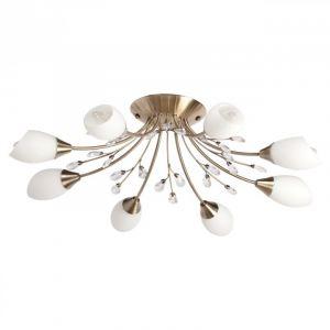 MW-Light DeMarkt 356015308 Plafonnier Moderne à 8 Lampes en Métal couleur Laiton Abat-jours en Verre Opale Blanc orné de Cristaux pour Salon Salle à Manger 8x60W E14