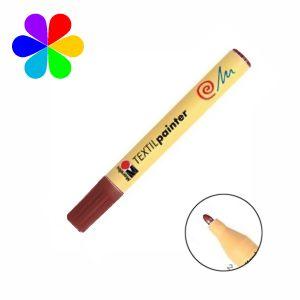Marabu 011703046 - Marqueur pour tissu Textil Painter, brun moyen, pointe ogive 2-4 mm