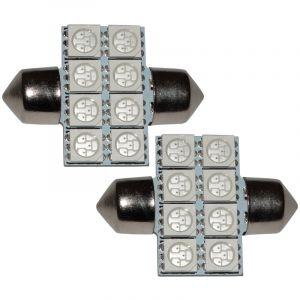 Aerzetix : 2x ampoule C5W 12V 8LED SMD bleu 31mm navette éclairage intérieur seuils de porte plafonnier pieds lecteur de carte coffre compartiment moteur plaque d'immatriculation