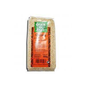 Grain de Frais Quinoa sans gluten | Quinoa Blanc d'origin FRANCE | cereal bio | farine de quinoa | sachet de 0.5 kg cuisiné en 10 minutes | source de protéines et de magnésium