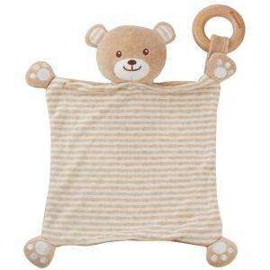 EverEarth EE33685 - Doudou plat ours avec anneau en bois