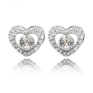Blue Pearls Cry A309 G - Boucles d'oreilles Coeurs en Cristal de Swarovski