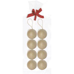 decopatch NO007O - Sachet de 8 boules avec cordon doré 5cm, en papier mâché