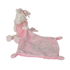Simba Toys Nicotoy / Kitchoun - Doudou Unicorn Licorne Blanche Et Rose Avec Mouchoir 24cms