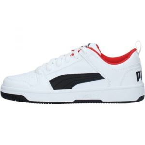 Puma Chaussure Basket Rebound Lay Up Lo Youth pour Enfant, Blanc/Noir/Rouge, Taille 38.5