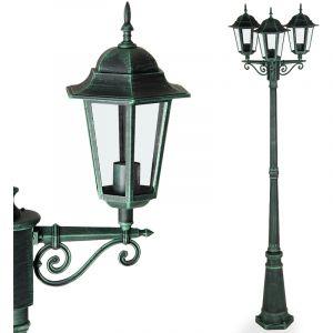 Monzana Lampadaire d'extérieur vert 226cm alu moulé réverbère lampe jardin lumière extérieure luminaire candélabre chemin allée forme lanterne protection IP 44 sytle vintage
