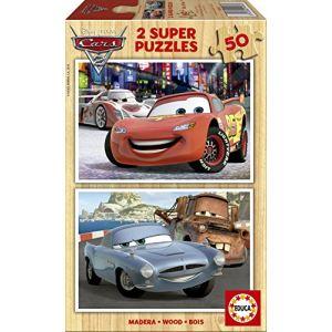 Educa Puzzle Cars 2: Flash McQueen, Martin et Finn McMissile 2 x 50 pièces en bois