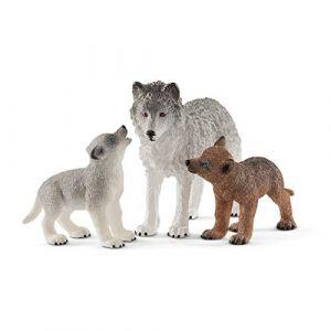 Schleich Wild Life 42472 - Figurine Maman Loup avec Louveteaux