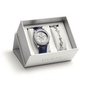 Guess Montre UBS84301-S - Montre Coffret Bracelets Cuir Et Acier Interchangeables Cristaux Swarovski Femme