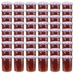 VidaXL 48 pcs Pots à confiture Couvercle blanc et violet Verre 400 ml