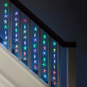 Lights4Fun Rideau Lumineux Intérieur de 64 Etoiles LED de Couleur Changeante par