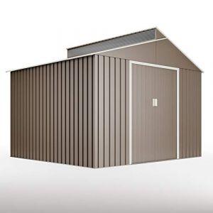 Hoggar Bjorn 7,25m2 G01ME0029 abris de jardin - Tole galvanisée - 257 x 282 x 222 cm - Porte de 120 cm - Avec lucarne en polycarbonate