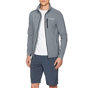 Columbia Homme Veste, Heather Canyon HOODLESS Jacket, Polyester Softshell, Gris (Grey Ash Heather), Taille: L, EO0024