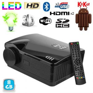 Yonis Vidéoprojecteur Android 4.4 HDMI WiFi LED 3000 Lumens 3D HD 1080P