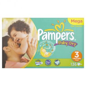 Pampers Baby Dry taille 3 Midi (4-9 kg) - Mega pack x 136 couches
