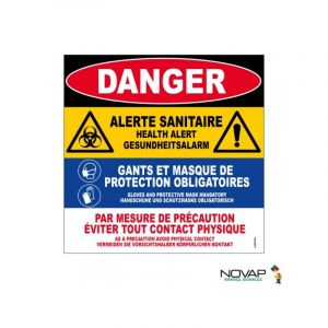 Novap Panneau Danger alerte sanitaire - Rigide - 200x330mm