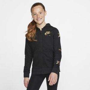 Nike Sweat à capuche entièrement zippé en tissu Fleece Air Fille plus âgée - Noir - Taille XS - Female
