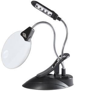 Wedo 271 75201 - Loupe de table avec lampe à DEL, avec serre-joint, diamètre: 102 mm