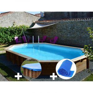 Sunbay Kit piscine bois Safran 6,37 x 4,12 x 1,33 m + Bâche hiver + Bâche à bulles